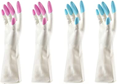 Woogor 2 Pair of Reusable Waterproof Household Latex Hand Gloves for Kitchen Dish Washing Laundry Cleaning Gardening and Sani