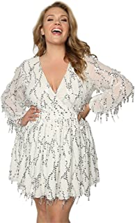 Women's Plus Size Deep V-Neck Sequin Beaded Fringed Mini Dress Cocktail Party Club Evening