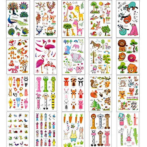 Simuer Zoo Animals Temporary Tattoos,20 Sheets Lions Zebra Sloth Giraffe Flamingos Elephant Elk Jungle Cartoon Sticker for Children Kids Girls Boys