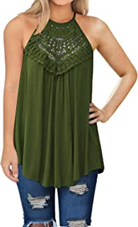 136c61ae587 MIHOLL Womens Summer Casual Sleeveless Tops Lace Flowy Loose Shirts Tank  Tops
