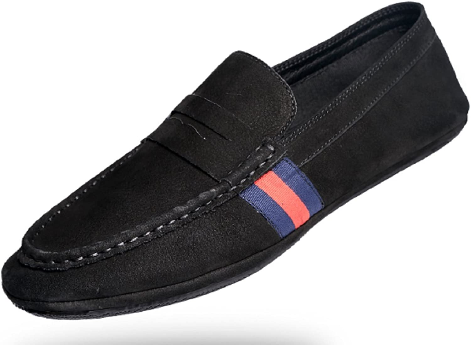 27aacd7d2f9f5 HAPPYSHOP Mens SuedeLeather Retro Leisure Moccasin Comfort Slip-on ...