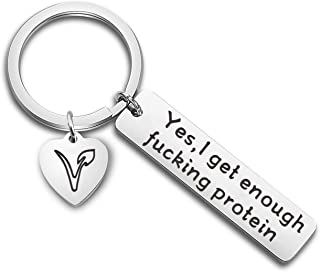 FEELMEM Vegetarian Jewelry Vegan Keychain Herbivore Veg Symbol Jewelry Keyring Yes I Get Enough Fucking Protein