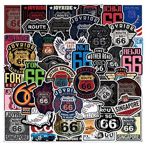 WEIGUANG American Highway 66 Graffiti Aufkleber für Gepäck Laptop Gitarre Auto Fahrrad Fahrrad Kühlschrank DIY wasserdichte Route 66 Aufkleber Kinderspielzeug 50 STK