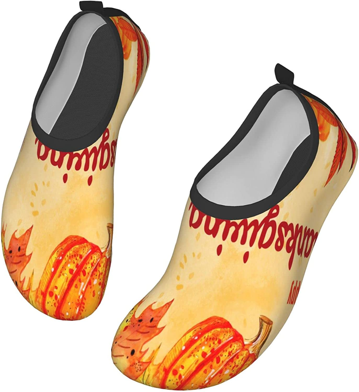 Watercolor Turkey Pumpkin Quick-Dry Water Shoes for Womens Mens Barefoot Swim Surf Yoga Exercise 44/45