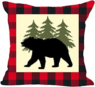 Classic Red and Black Plaid Welcome to The Wild Animal Bear Moose Tree Forest Winter Cotton Linen Square Throw Waist Pillow Case Decorative Cushion Cover Pillowcase Sofa 18x18 inches