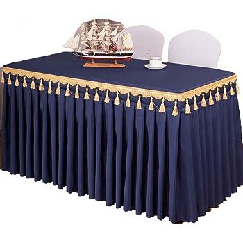 ISSHE Mantel del Poliester Color Sólido,Falda De Mesa para Hotel Iglesias Y Los Budistas Banquetes Restaurante Tela De Mesa Rectangular Lavable Azul Oscuro XL: Amazon.es: Hogar