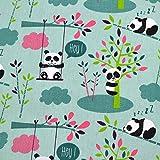 MAGAM-Stoffe Hey Panda Mint Baumwollstoff Kinderstoff 100%