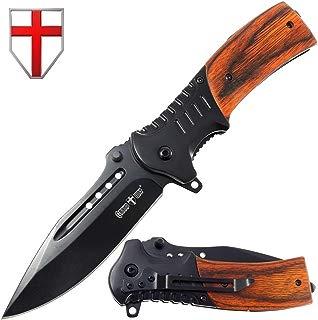Grand Way Hunting Folding Knife Rosewood Handle - Tactical EDC Pocket Knife - Foldable Long Blade Pocket Knife - Big Blade Folding Knife WK 0207
