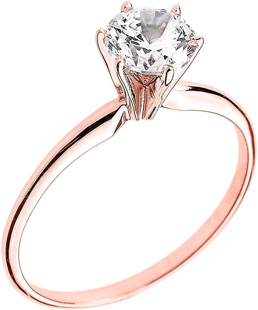 10k Rose Gold Elegant Cubic Zirconia Solitaire Engagement Ring