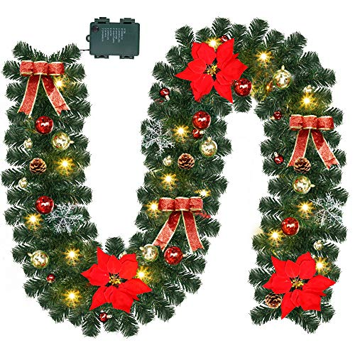 Lulu Home Christmas Garland, 9FT Pre-lit 40 LED Christmas Garland with 24 Xmas Balls, Battery Operated Christmas Lighted Poinsettia Garland Indoor Outdoor for Fireplace, Staircase, Railing Decoration