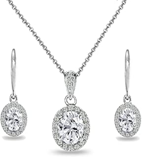 Sterling Silver Genuine, Created or Simulated Gemstone Oval Halo Necklace & Leverback Earrings Set