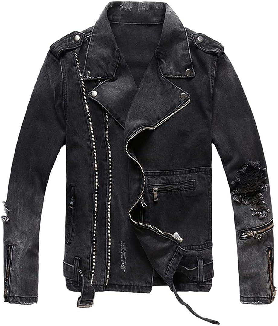 Men Zippers Streetwear Jacket Decoration Black Destroyed Ripped Denim Jackets