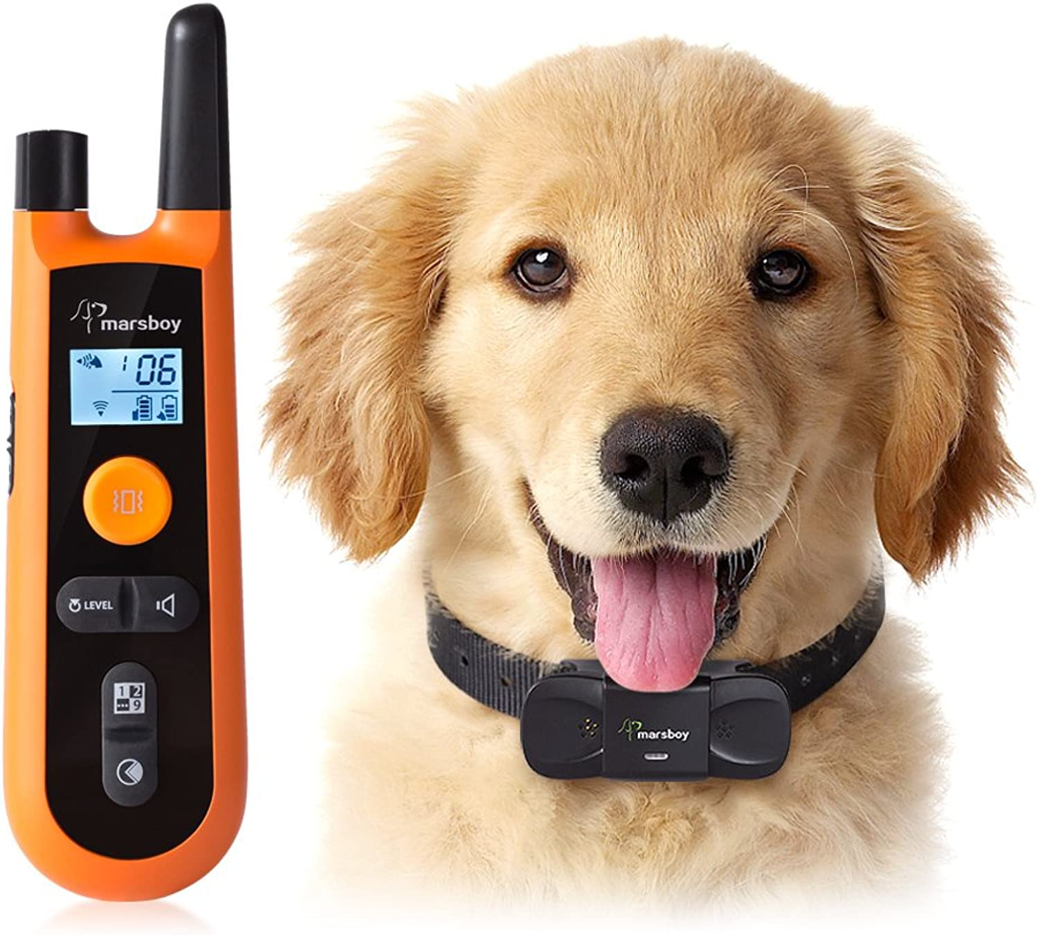 Marsboy Dog Training Collar, Rechargeable and Waterproof Dog Trainer with Beep, Adjustable Vibration Function, 200 Meters Training Range, Longlasting Battery Life, Humane Training Collar Dogs