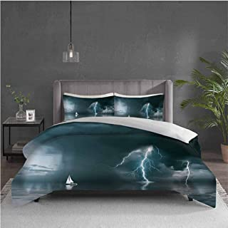 Edwiin Charles Sailboat Extra Large Quilt Cover Yacht at The Ocean Comes Nearer a Thunderstorm with Rain and Bolt Artwork Print Can be Used as a Quilt Cover-Lightweight (Queen) Blue Grey