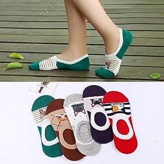 5 Par/Lote Zapatillas De Calcetines Antideslizantes para Mujer Calcetines Invisibles Lindos Calcetines Antideslizantes De Algodón para Verano con Diseño Encantador De Gato De Dibujos Animados