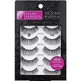 Salon Perfect False Eyelashes GO GLAM Multi Pack 105 Black, Ultra thin 5 pairs of Lashes
