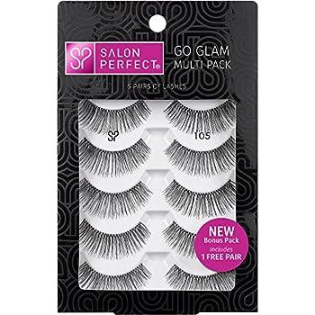 Salon Perfect False Eyelashes GO GLAM Multi Pack 105 Black Ultra thin 5 pairs of Lashes