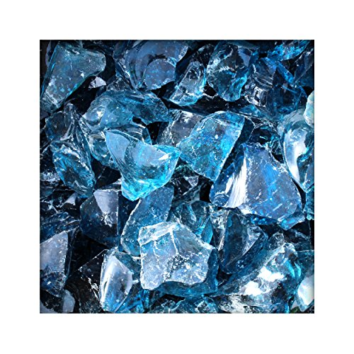 Kieskönig Glasbrocken Glasbruch Glassteine Glas Gabione 30-80 mm Blau 25 kg