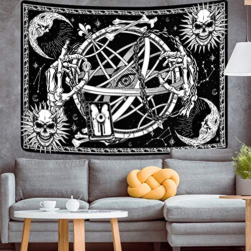 Skull Tapestry Sun and Moon Tapestry Gothic Skeleton Tapestry Black and White Tarot Card Tapestry Mystic Eye Tapestries Wall Hanging for Room(51.2 x 59.1 inches)