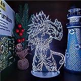Lámpara de ilusión 3D Luz de noche LED Dragon Ball Z Son Goku Lámpara de anime...
