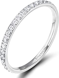 TIGRADE 2mm Women Titanium Eternity Ring Cubic Zirconia Anniversary Wedding Engagement Band Size 3-13.5