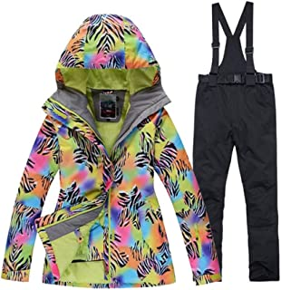traje de esquí JSGJHXF Patrón de cebra Traje de nieve para mujer deporte al aire libre Usar conjuntos de snowboard Resistente al viento Impermeable Chaquetas de esquí de invierno y cinturón Pantalones de nieve