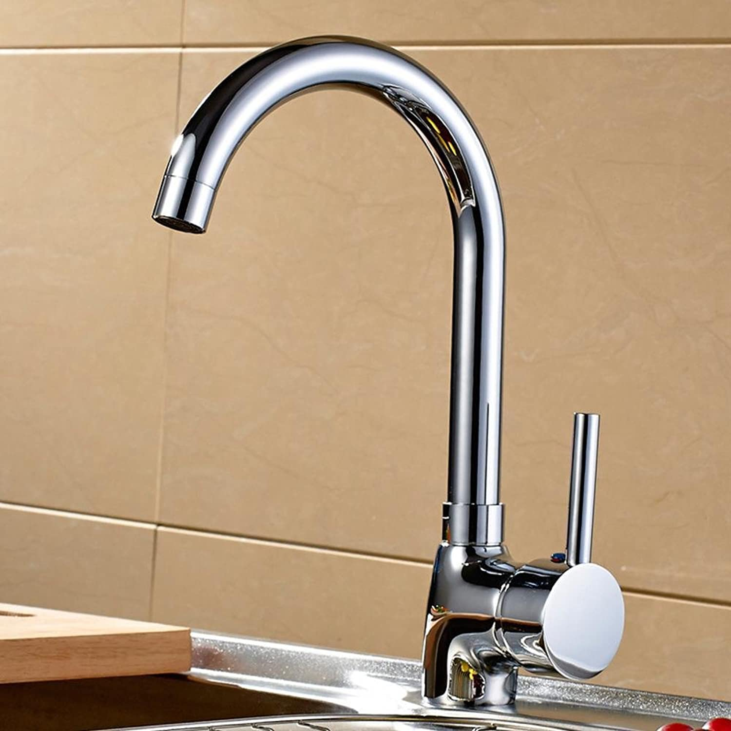 Wmshpeds Copper hot and cold water tap faucet Single-hole kitchen faucet hot and cold sink faucet