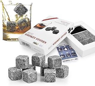 OTBBA Whisky Steine Geschenkset aus natürlichen Speckstein von Ameigo - 9er Granit Patrone Personalisiert Schwarz Ice Cube mit Geschenken Box und Aufbewahrungstasche, 1 Jahr Garantie  9 Stück