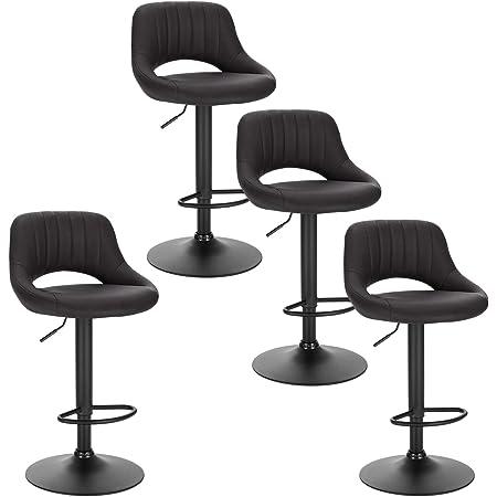 EUGAD 0666BY-4 Tabouret de Bar Chaise de Bar Lot de 4,Tabouret de Cuisine avec Similicuir Assise et métal Pieds,Anthracite