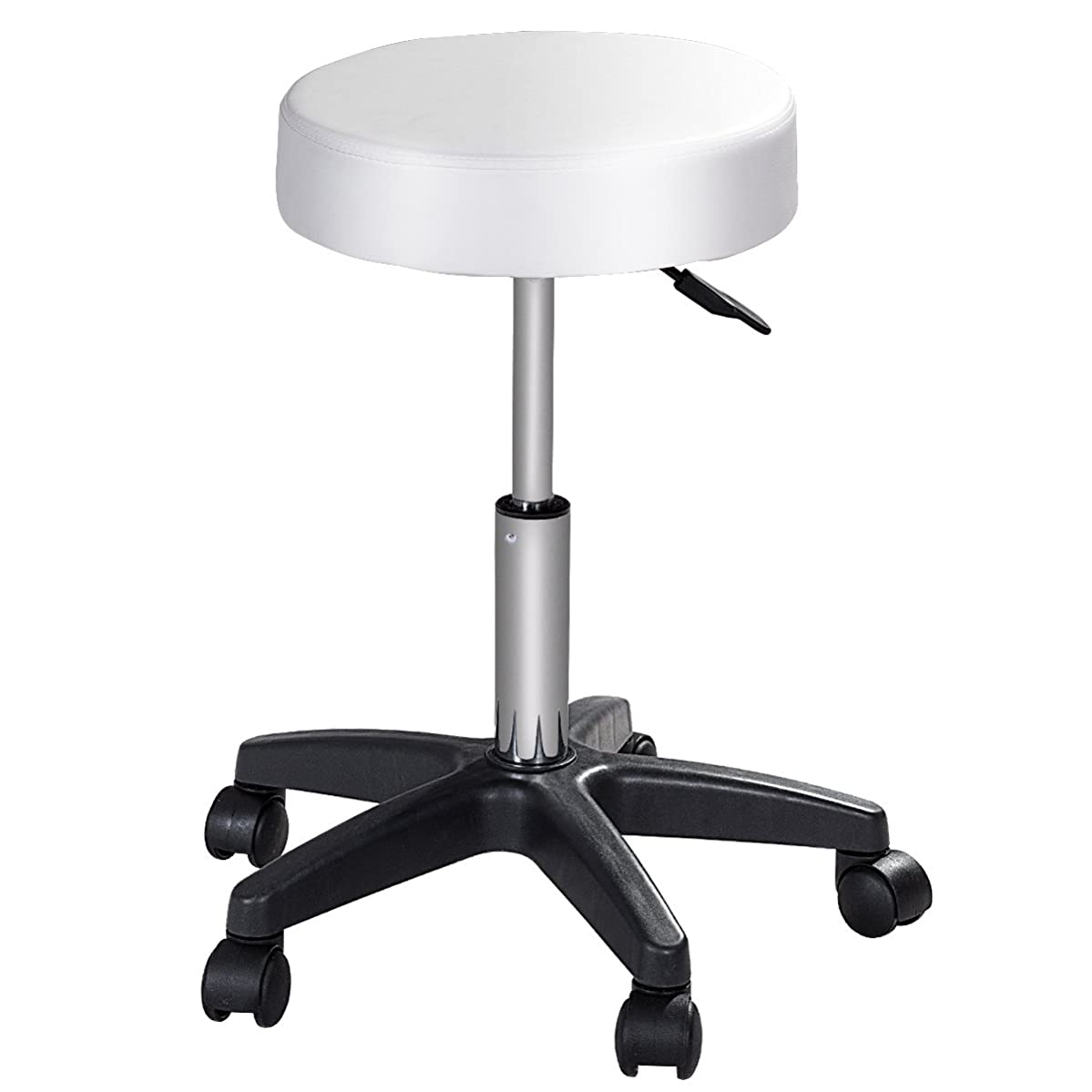 COSTWAY Round Height Adjustable Hydraulic Rolling Swivel Bar Stools with Casters Wheel 360 Degree Rotation Stool Chair for Home Kitchen Office Salon Facial Massage Stool(White)