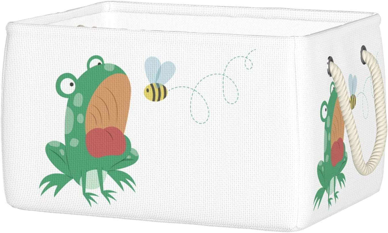 Funny OFFicial mail order Frog And Bee Storage Collapsible Foldable Basket High quality new