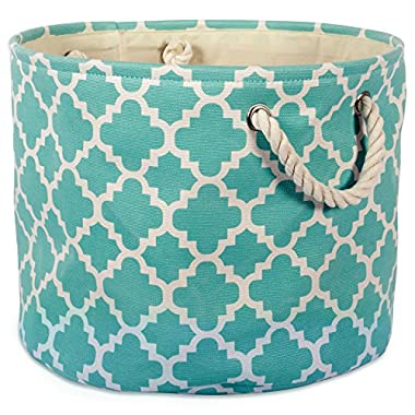 "DII Collapsible Polyester Storage Basket or Bin with Durable Cotton Handles, Home Organizer Solution for Office, Bedroom, Closet, Toys, Laundry (Large Round – 15x16""), Aqua Lattice"
