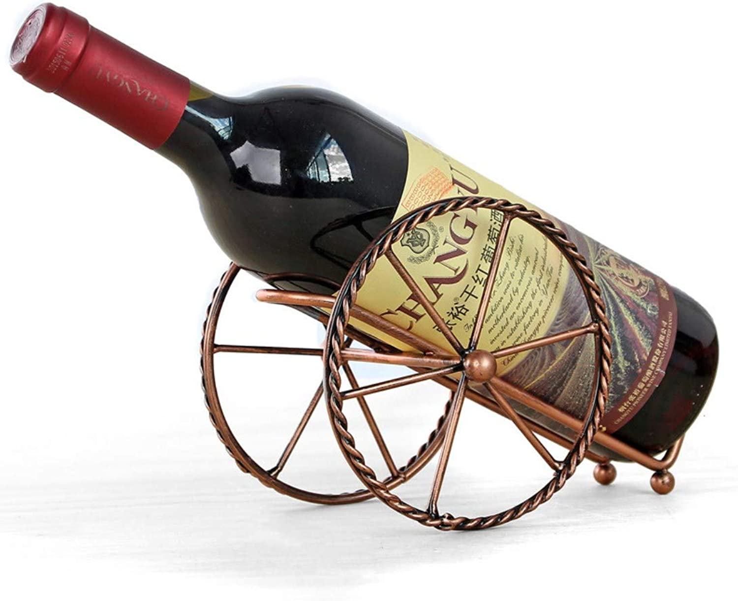 Retro Two-Wheeler Shaped Wine Bottle Holder Wine Rack Shelf Iron Sculpture Practical Home Decoration Crafts