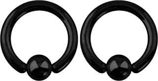 Pair 10g-20g Black/Rainbow Surgical Steel Captive Bead Body Piercing Hoops (Select Color/Gauge/Diameter)