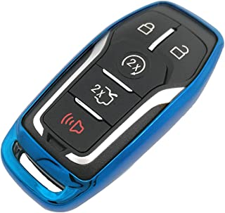 WazirianUAE Blue TPU Key Fob Case Holder Jacket Protector for Ford Fusion F-150 Edge Explorer Mustang Lincoln MKZ MKC 2/3/...