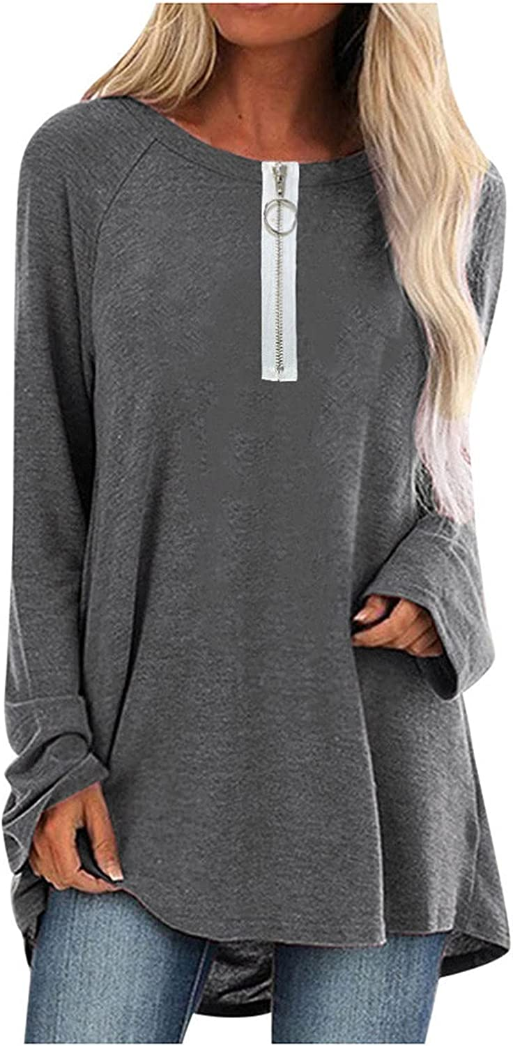 TIMIFIS Pullover Sweatshirts for Women Plus Size Long Sleeve Autumn Shirt Casual Zip Up Blouse Solid Color Tunic Tops