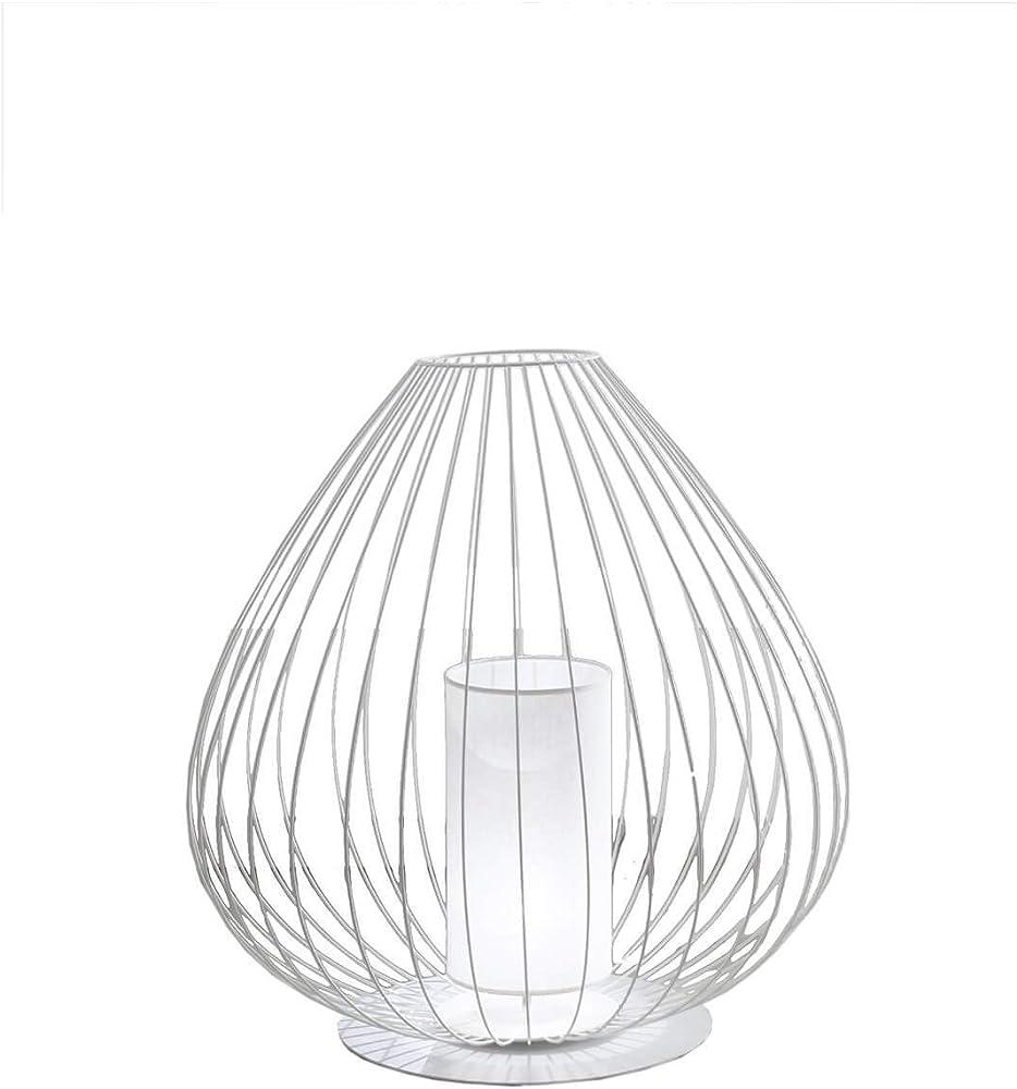 karman cell lampada da terra Ø57 cm con rete in filo metallico bianco lucido da esterno m612 ext