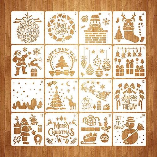 Homo Trends 16 Plantillas navideñas para Ventanas, Plantillas de plástico, Plantillas navideñas para Manualidades, álbumes de Recortes, Manualidades para Pintar Tarjetas, decoración de Ventanas