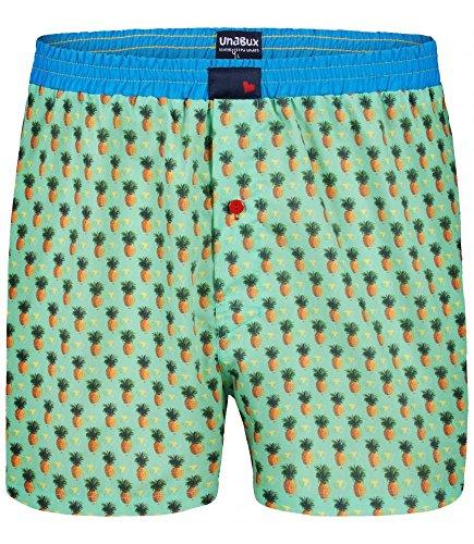 Unabux Boxershorts Grün mit Ananas All-Over Print Größe L