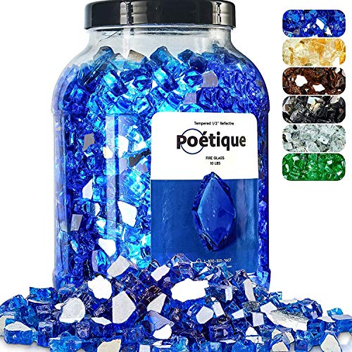 Bravex Fire Glass for Fire Pit 20 LB, Cobalt Blue Reflective Tempered Fireglass Rocks 1/2 Inch for Gas or Propane Fireplace, Safe for Outdoors and Indoors Decorative