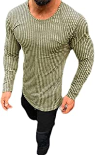 GAGA Men Round Neck Casual Pullover Stripe Printing Long Sleeve Tops T Shirt Blouse