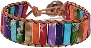 YGLINE Leather Chakra Handmade Imperial Jasper Wrap Adjustable Bead Bracelet