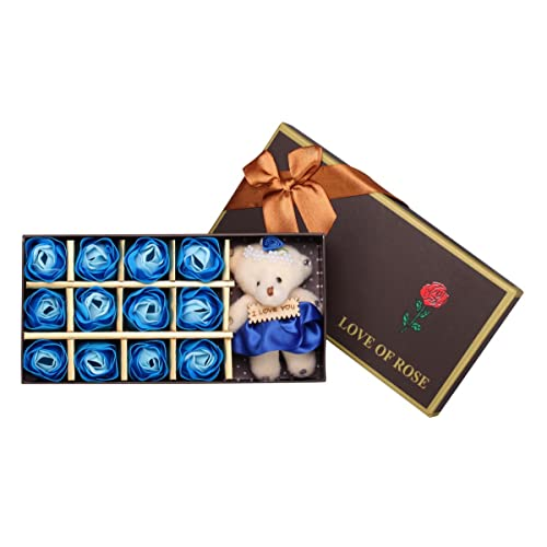 e17f3d3d34e Adabele Gifts I Love You 12 Scented Bath Soap Rose Flower Blue Rose with  Teddy Bear