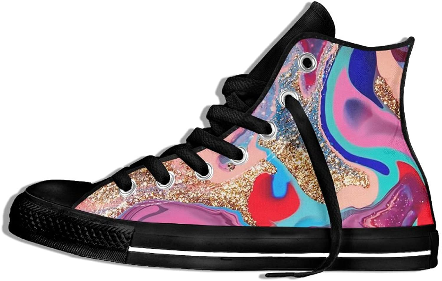 Unisex High Top Canvas Sneakers Shiny Abstract Painting Round Toe Anti-slip Running Trainers shoes