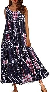 Women Vintage Floral Loose O-Neck Broken Flower Print Short Sleeve Cotton Linen Casusl Maxi Dress