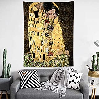 OATHENE Gustav Klimt The Kiss Art Painting Background Tapestry,Wall Hanging for Bedroom/Living Room,Home Décor,Polyester,80W x 60L inches,1515