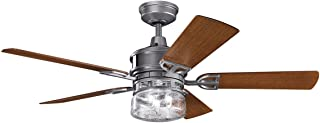 Indoor Ceiling Fans Light with Weathered Steel Powder Coat Tone Finish Steel Material 52 inch