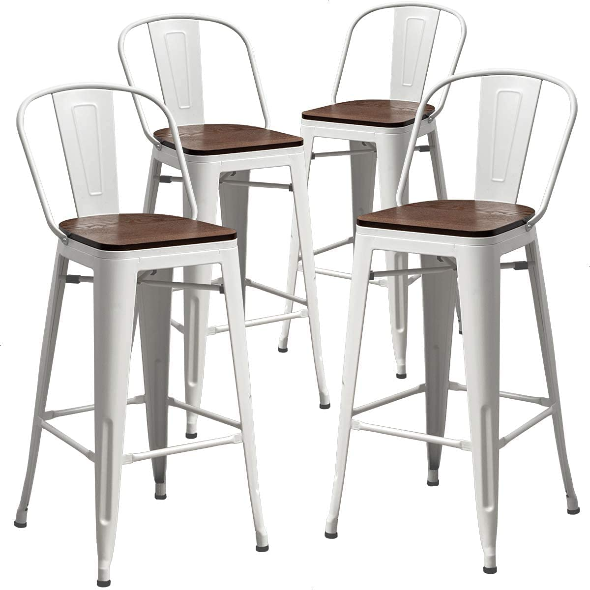Mail order cheap AKLAUS Swivel Metal Bar Stools Set Height Manufacturer regenerated product Counter of 4 Co