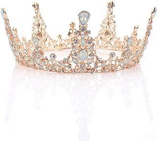 Brishow Bride Wedding Crowns and Tiaras Gold Rhinestone Bridal Princess Crown Crystal Opal Headpieces for Women and Girls