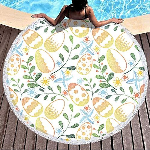 Gamoii Toalla de playa redonda con diseño de huevos de Pascua y plantas, de secado rápido, ligera, con flecos, para niños, mujeres, exteriores y viajes, color blanco, 150 cm